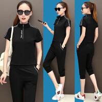夏季休闲运动套装女夏装短袖七分裤两件套361运动服大码显瘦跑步 黑色 质量保证