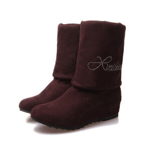 ELEISE美国艾蕾莎新品秋冬189-Q6-3韩版磨砂绒面坡跟女士短靴