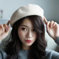 日系南瓜毛呢帽子英伦百搭画家八角帽韩版潮蓓蕾羊毛贝雷帽女