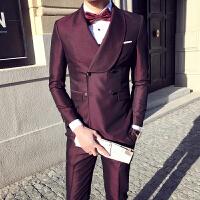 新款绅士大翻领双排扣西服套装男韩版修身个性时尚晚宴礼服商务装