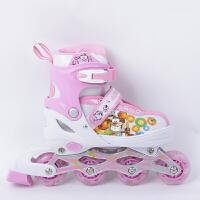 2016夏季溜冰鞋儿童套装轮滑鞋女童旱冰鞋男童 直排轮滑轮鞋可调伸缩加全套装护具增高溜冰鞋