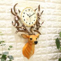 现代简约鹿头挂钟客厅个性时尚大气创意钟表
