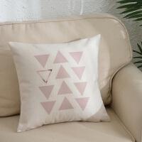 粉色ins北欧棉麻抱枕靠垫客厅沙发汽车靠枕床头靠背垫抱枕套