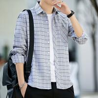 长袖衬衫男 春秋男士格子衬衫长袖韩版潮流青少年学生衬衣