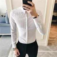 破洞个性衬衫男长袖修身韩版商务休闲纯色衬衣青少年寸衣