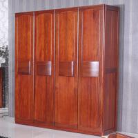 现代新中式实木衣柜 海棠木实木大衣柜 北欧风情四门衣柜衣橱组合