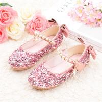 女童皮鞋平底银公主鞋宝宝软底童鞋中大童学生演出鞋儿童单鞋