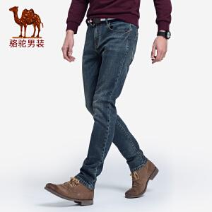 骆驼男装 2018秋冬新款青年时尚中腰直筒韩版水洗弹力牛仔长裤男