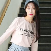 印花t恤女秋冬装长袖韩版宽松学生圆领百搭休闲简约时尚个性女上衣