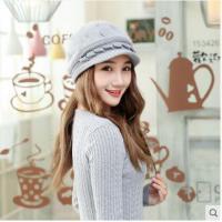 女士套头护耳帽子时尚百搭贝雷帽韩版休闲保暖帽针织毛线帽子