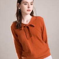 羊绒衫女秋冬新款羊绒 V领蝴蝶结套头短款修身打底针织毛衣