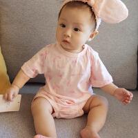 婴儿连体衣服宝宝新生儿3季爬爬服1岁6个月款短袖三角哈衣