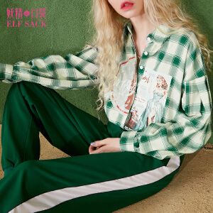 妖精的口袋广告热潮秋装新宽松灯笼袖复古方领格子衬衫女
