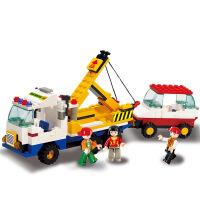【当当自营】小鲁班模拟城市系列儿童益智拼装积木玩具 拯救拖车M38-B2800