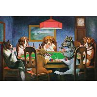 木质拼图300/500/1000片大型超难成年人减压经典油画狗狗玩扑克