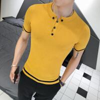 季青年个性短袖针织衫男士韩版修身时尚毛线衫薄款打底衫
