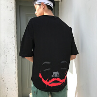 松夏天T恤男式圆领个性小丑印花半袖衫2018新款时尚T恤衫