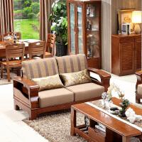 中式实木沙发茶几客厅家具套装1+2+3沙发组合大小户型布艺沙发