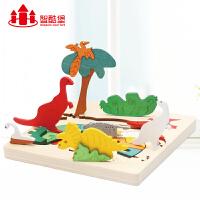 儿童早教益智多层拼图积木质宝宝玩具1-2-3-4-6-7周岁男孩小女孩