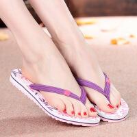 越南式平仙平底女凉拖鞋女人字拖鞋夏季平跟时尚外穿夹脚防滑沙滩鞋F 3309魅力紫