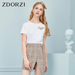 卓多姿2018夏装新款绣花T恤格子短裙两件套女736E521