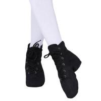 成人高帮帆布软底爵士舞鞋现代舞鞋黑色儿童练功系带舞靴广场舞鞋