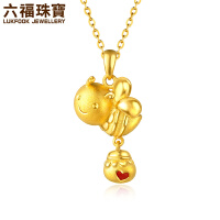 六福珠宝爱心蜜蜂黄金串珠足金吊坠项链计价GDGTBP0017