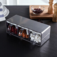 奇居良品 厨房用品调料盒 埃米不锈钢三格调味盒(可横竖摆放)