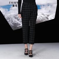 海贝冬季新款女装 高腰英伦格子九分休闲裤