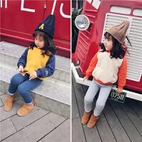 冬季新款童装儿童拼色加绒卫衣小童宝宝加厚上衣运动上衣潮