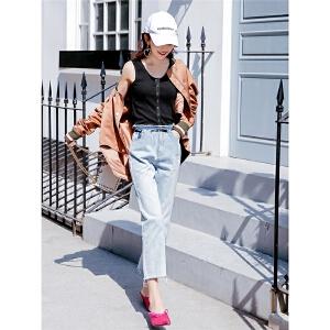 七格格高腰牛仔裤女学生春装新款韩版显瘦百搭宽松bf九分裤直筒裤