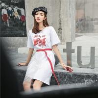 七格格原宿风港味蕾丝连衣裙女士夏装2018新款夏季t恤裙子长款学生显瘦