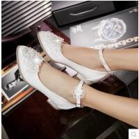 儿童鞋水晶公主鞋小孩高跟鞋18女孩子女童包头皮鞋韩版