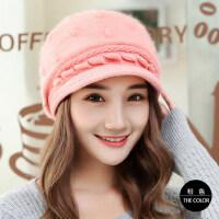 女士韩版针织鸭舌贝雷帽子毛线帽兔毛帽潮加厚保暖护耳