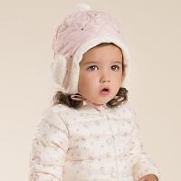 davebella戴维贝拉 女童秋冬新款加厚帽子 宝宝婴儿护耳帽子