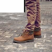 新款男士马丁靴工装鞋男短靴潮流男靴英伦高帮鞋圆头中筒复古靴子