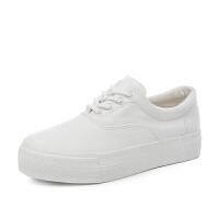 帆布鞋女春季街拍厚底松糕小白鞋内增高休闲运动板鞋潮布鞋女