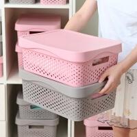收纳箱 北欧风带盖收纳箱整理筐收纳衣服玩具杂物整理箱塑料大中小脏衣篮