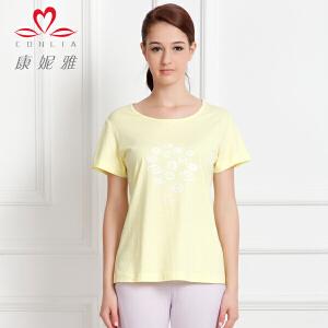 康妮雅夏季新款女装 女士棉质上衣搞怪印花短袖T恤衫