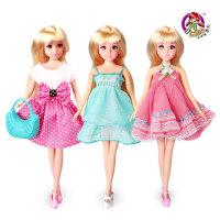 乐吉儿正品2014公主可爱洋布芭比娃娃可儿女孩套装礼物盒玩具