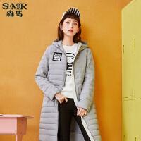 森马棉服女2017冬季新款薄款保暖贴布绣外套女装中长款韩版潮学生