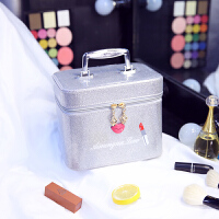韩国多层化妆包大号化妆盒便携旅行大容量化妆品收纳手提化妆箱包 银色 嘴唇单层小号