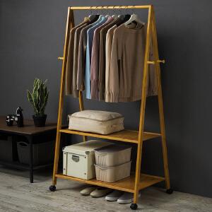 衣帽架 现代简约落地木质卧室挂衣架客厅收纳简易置物架家用创意带滚轮省空间可移动衣服架