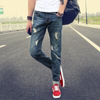 新款四季男式牛仔裤韩版潮流休闲小脚裤弹力修身牛仔长裤