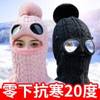 骑车帽子女秋冬加厚保暖电动车亲子户外防寒一体帽冬天毛线雷锋帽