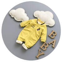 婴儿爬爬服秋冬加厚开衫3-6个月新生儿潮衣服抓绒连体衣冬季哈衣9