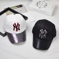 新款NY儿童棒球帽黑色亮片弯檐鸭舌帽韩版春夏男女宝宝休闲鸭舌帽
