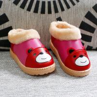 冬季包跟棉拖鞋1-6岁男女宝宝家居鞋防水防滑加厚绒实心软底