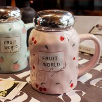 韩国创意水果陶瓷杯子大容量带盖马克杯情侣杯茶杯学生可爱牛奶杯