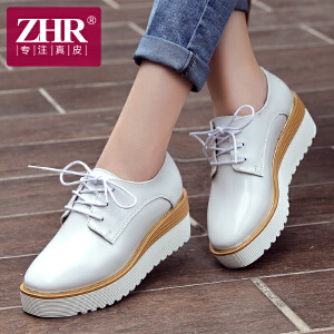 ZHR2017春季新款英伦风尚松糕鞋女休闲鞋真皮小白鞋厚底坡跟单鞋女潮小皮鞋D60